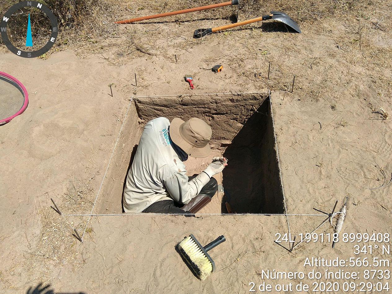 Análise dos vestígios identificados em quadra – unidade de escavação - no Sítio Arqueológico Fazenda Cágados – Município de Dom Inocêncio – PI.