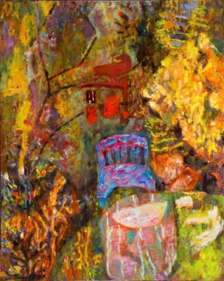 """Garden Mobile 24"""" X 31"""" oil on canvas $900 © Diane Crago 2012"""