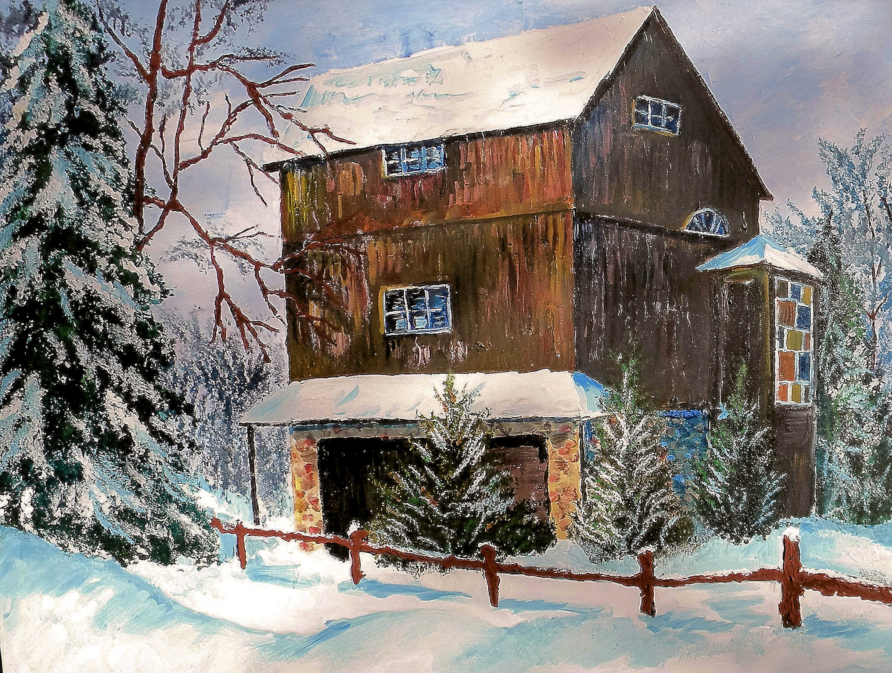 MOM AND DADS BARN  30X40 IN  $500   HIGHLIGHTED WITH GLOW IN DARK LUMINESCENT PAINT