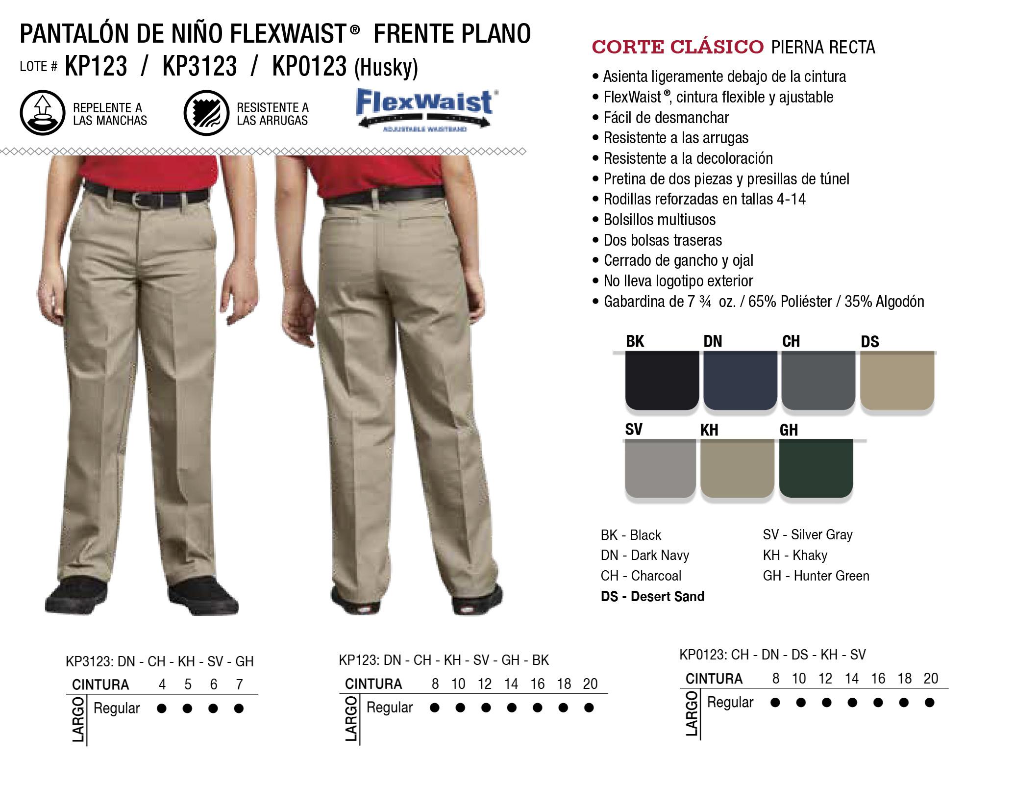 Pantalón de Niño Flexwaist. Corte Recto. KP123/KP3123/KP0123.