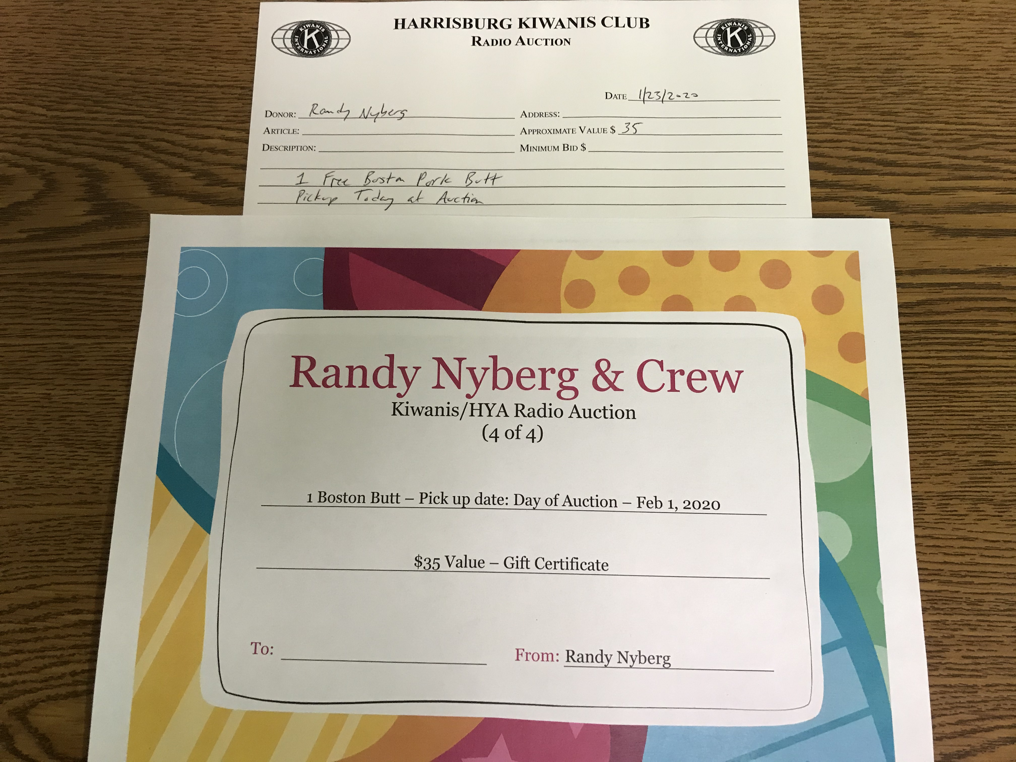Item 430 - Randy Nyberg 1 Free Pork Butt (available for pickup the day of the Auction)