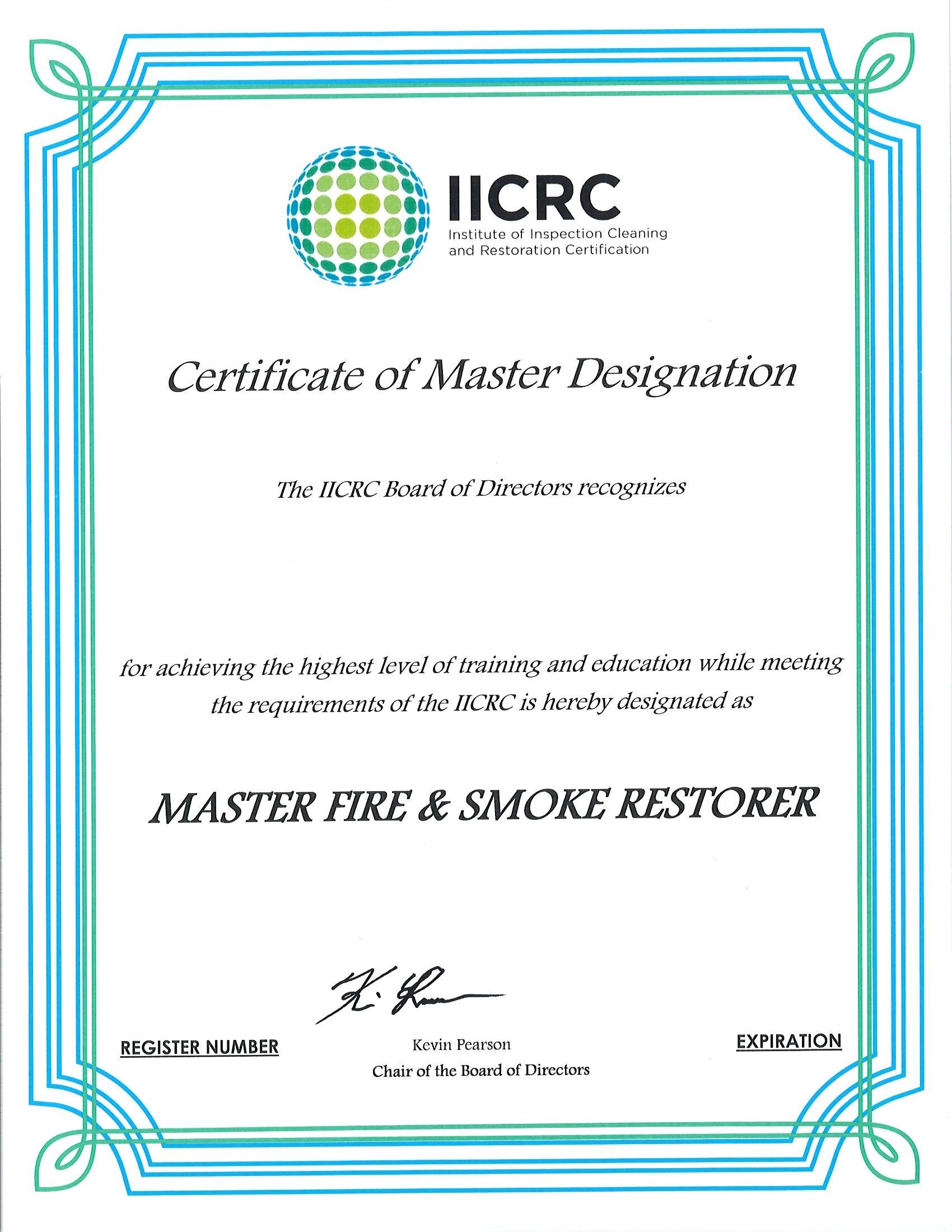 IICRC Certificate 5