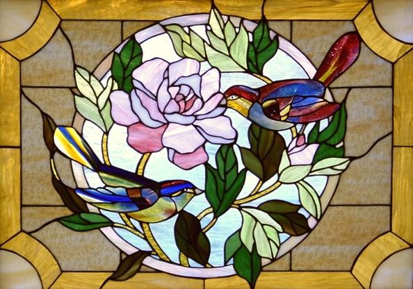 """""""Peony and Birds"""" by Urii Guchenia Glass Size - 20""""H X 28""""W $750.00"""