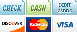 We accept Check, Cash, Debit Cards, Discover, MasterCard and Visa.||||