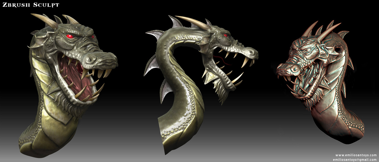 Dragon Bust. Software used Maya, PhotoShop, and Zbrush.