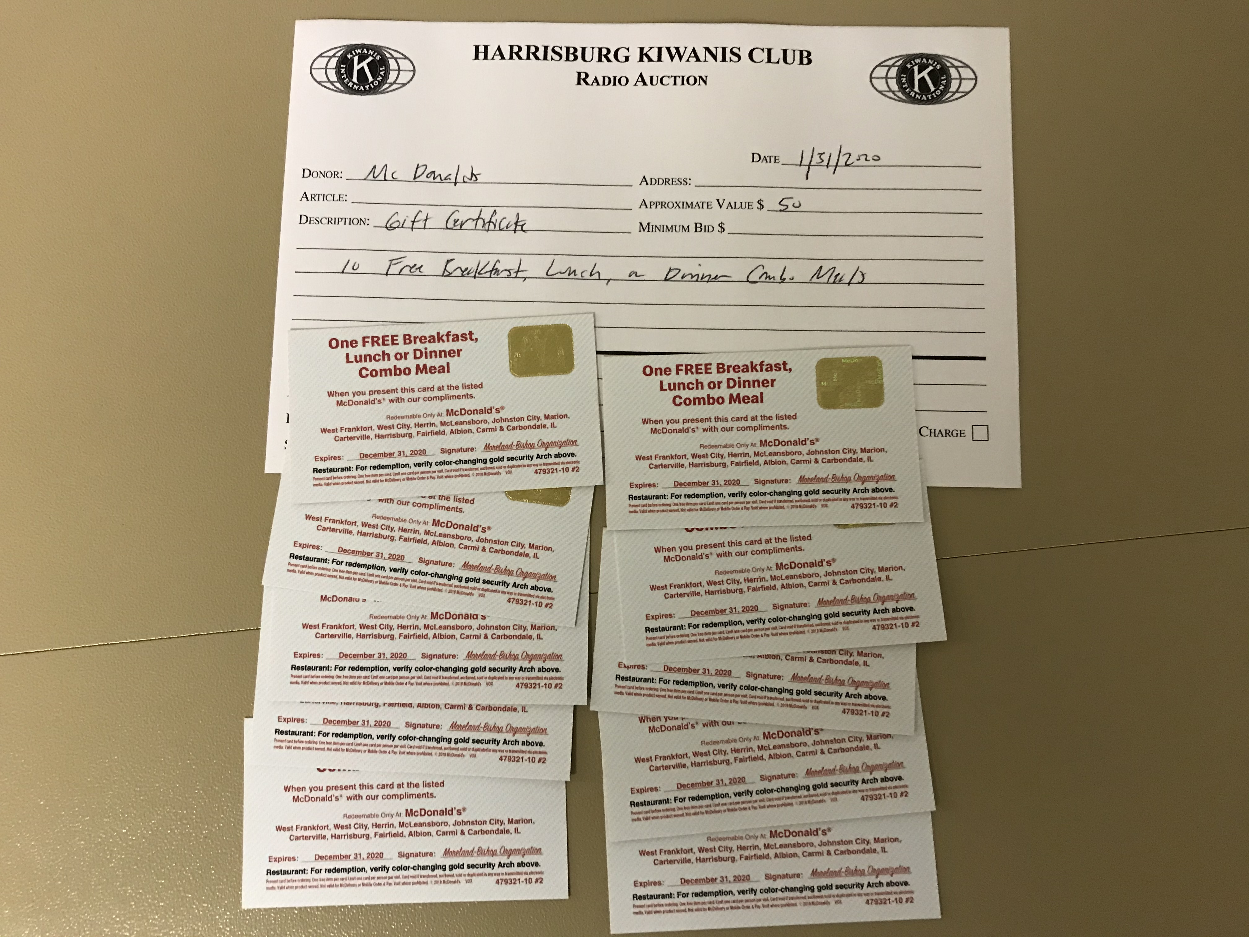 Item 237 - McDonalds 10 Gift Certificates for Combo Meals