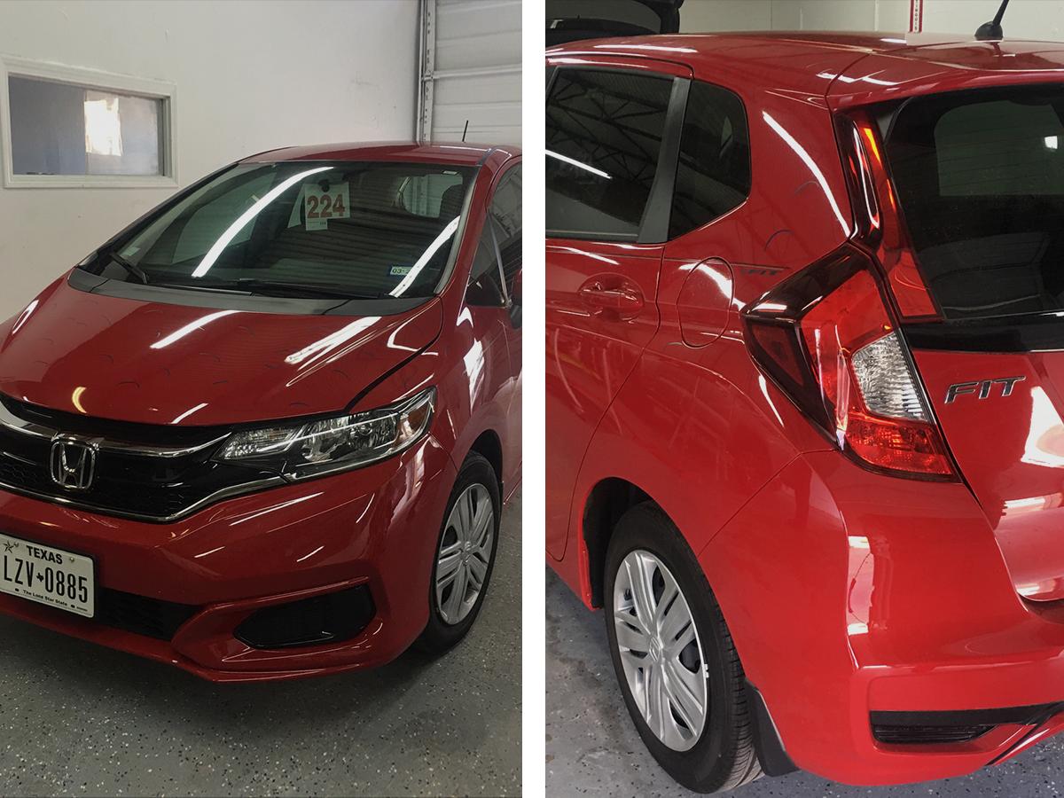Red Hatchback Car Back & Front