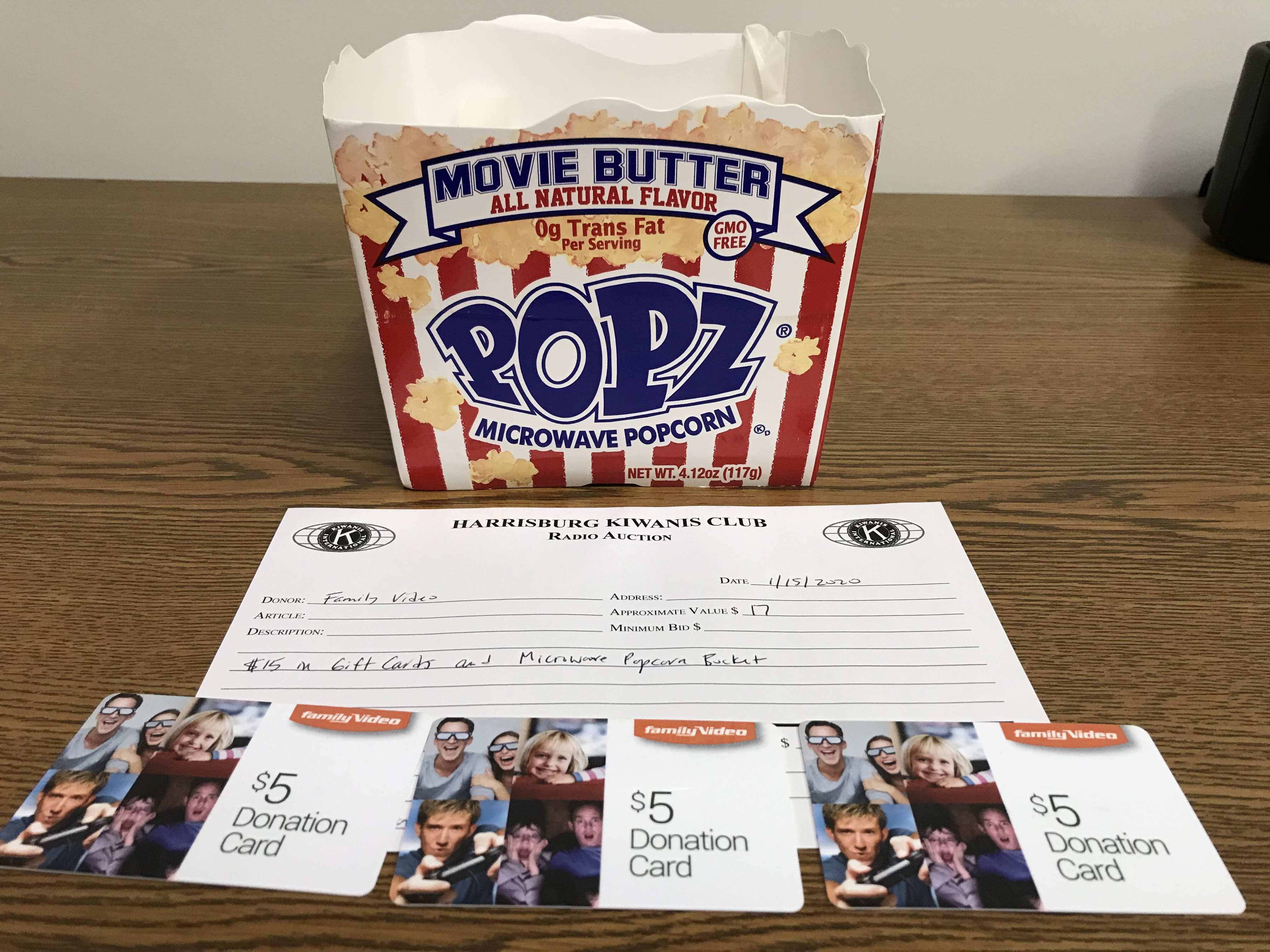 Item 225 - Family Video $15 in Gift Cards and Microwave Popcorn Bucket