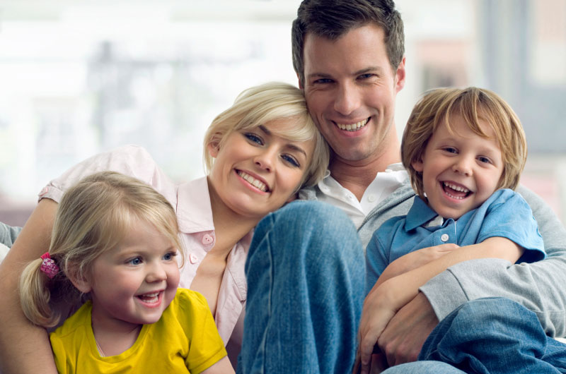 Young family with smiling