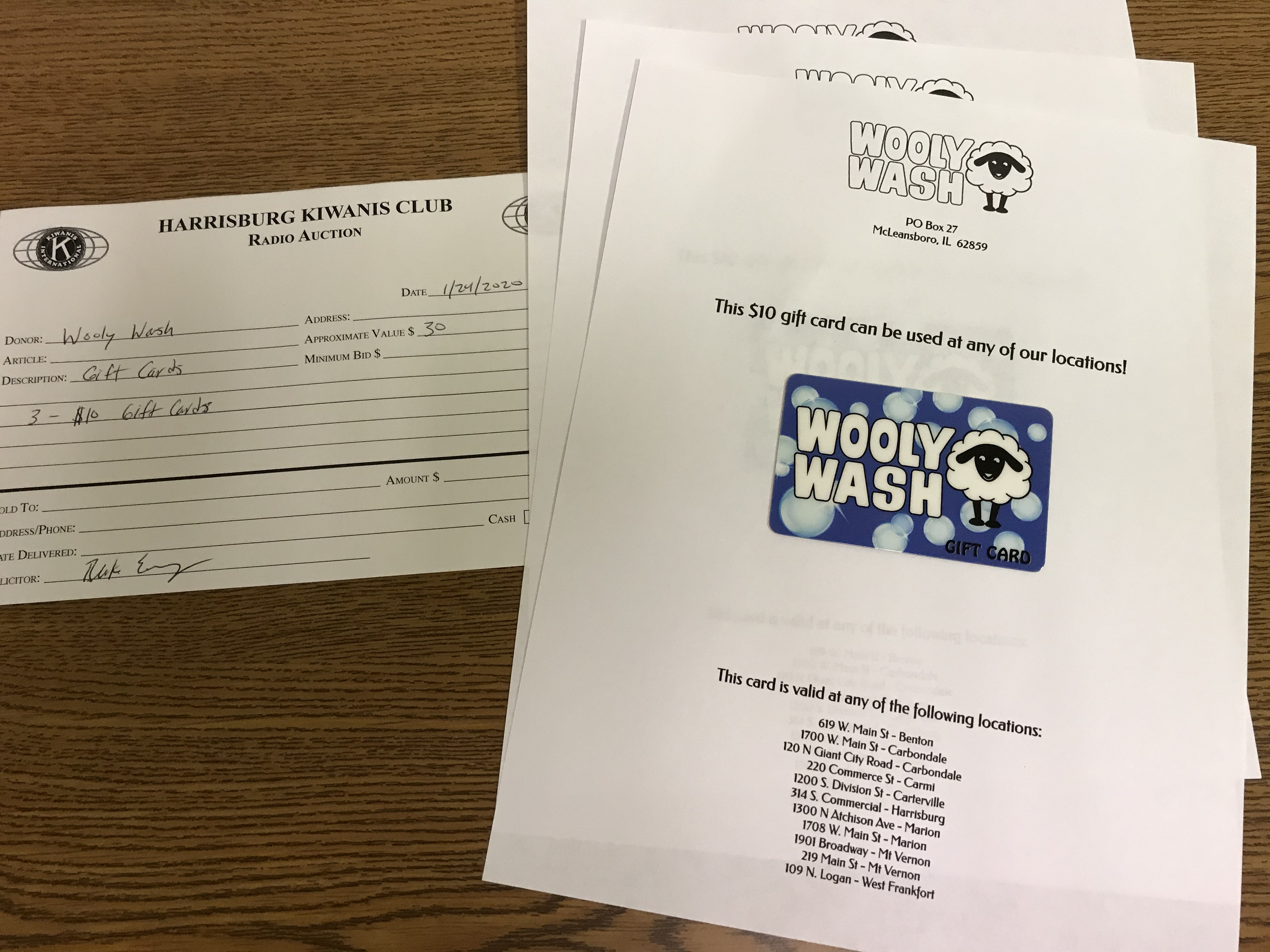 Item 320 - Wooly Wash 3 - $10 Gift Cards