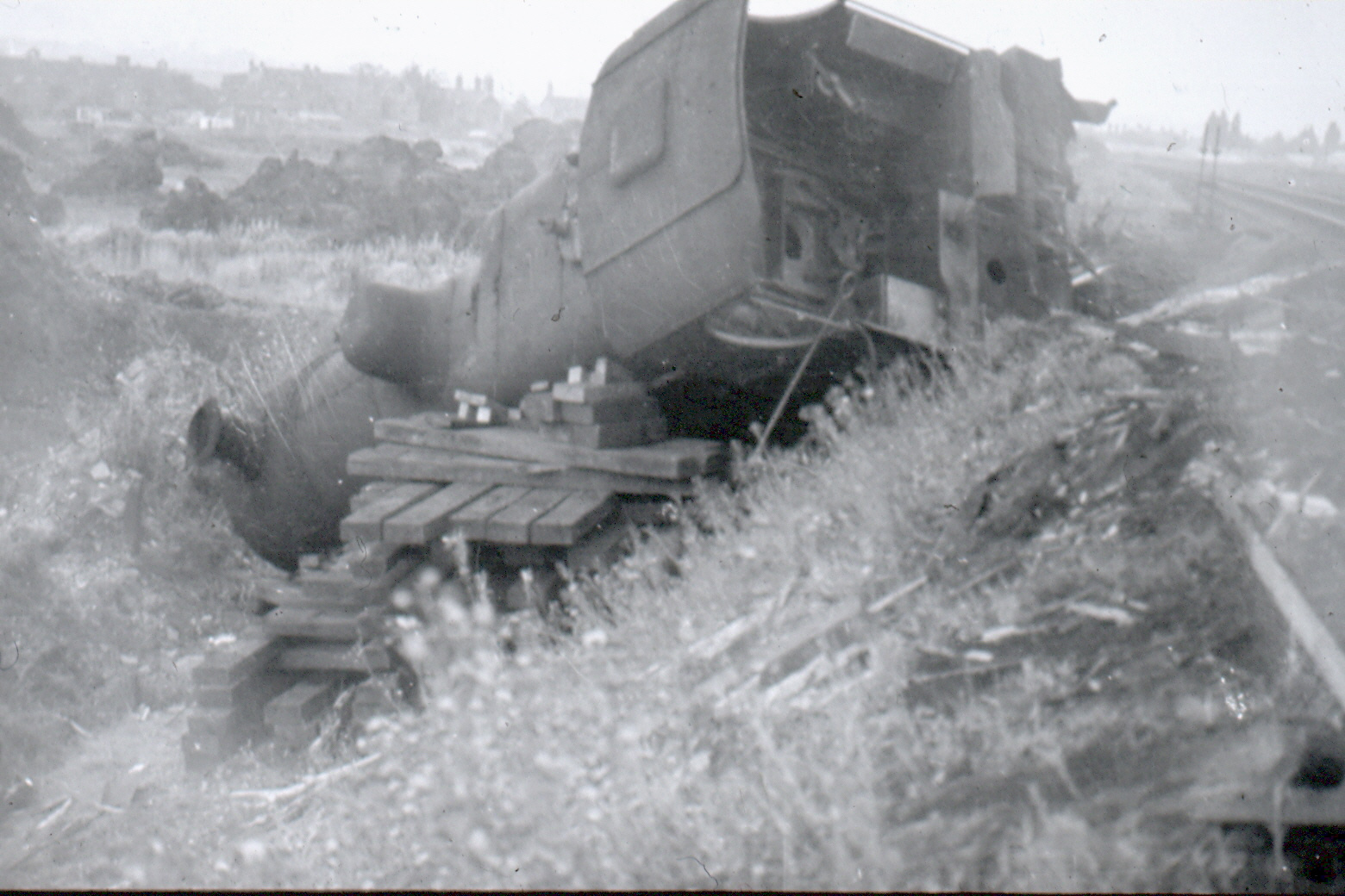 Goods train derailed on the branch line August 1960
