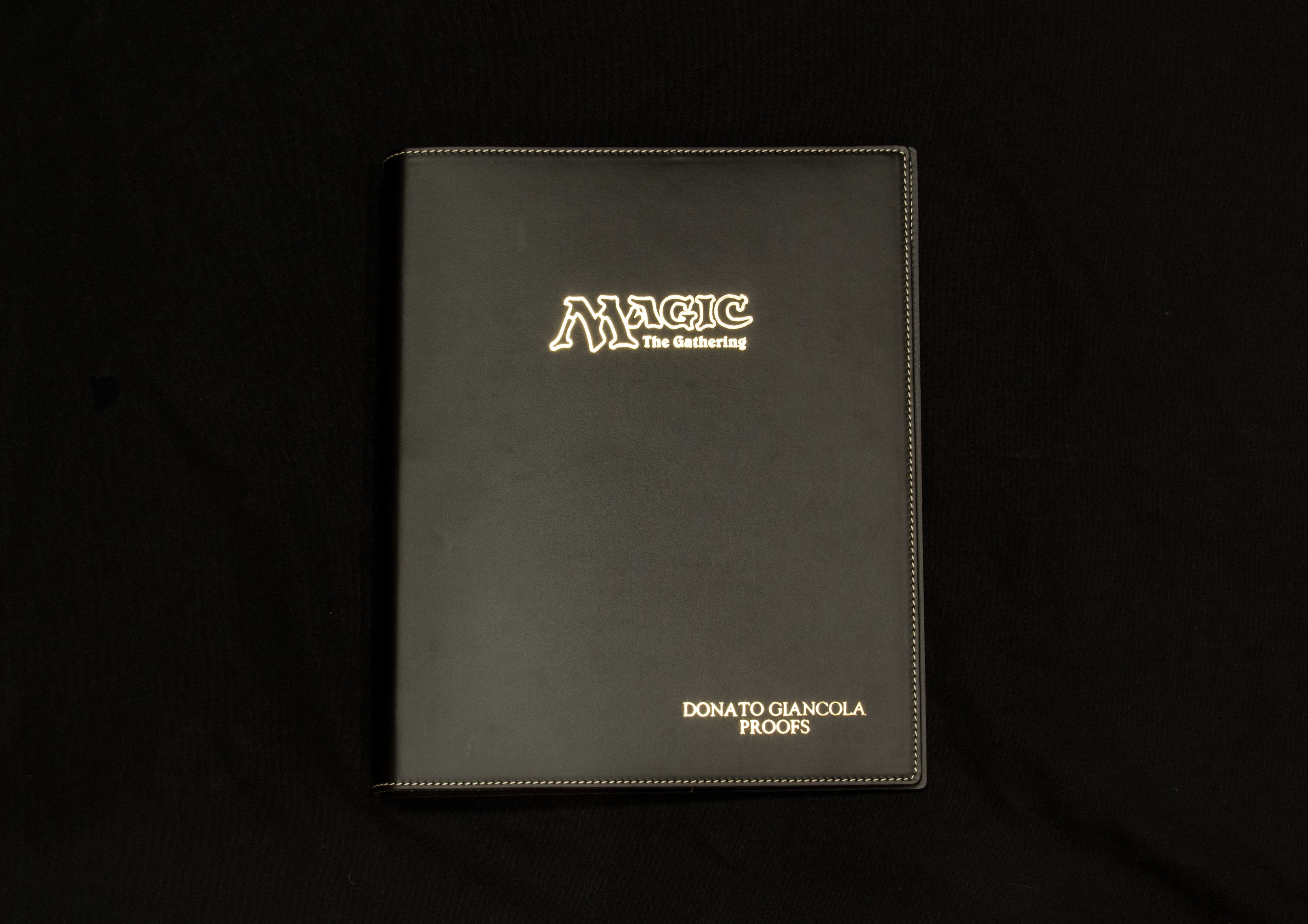 Embossed Italian Leather binder - option - foil emboss black
