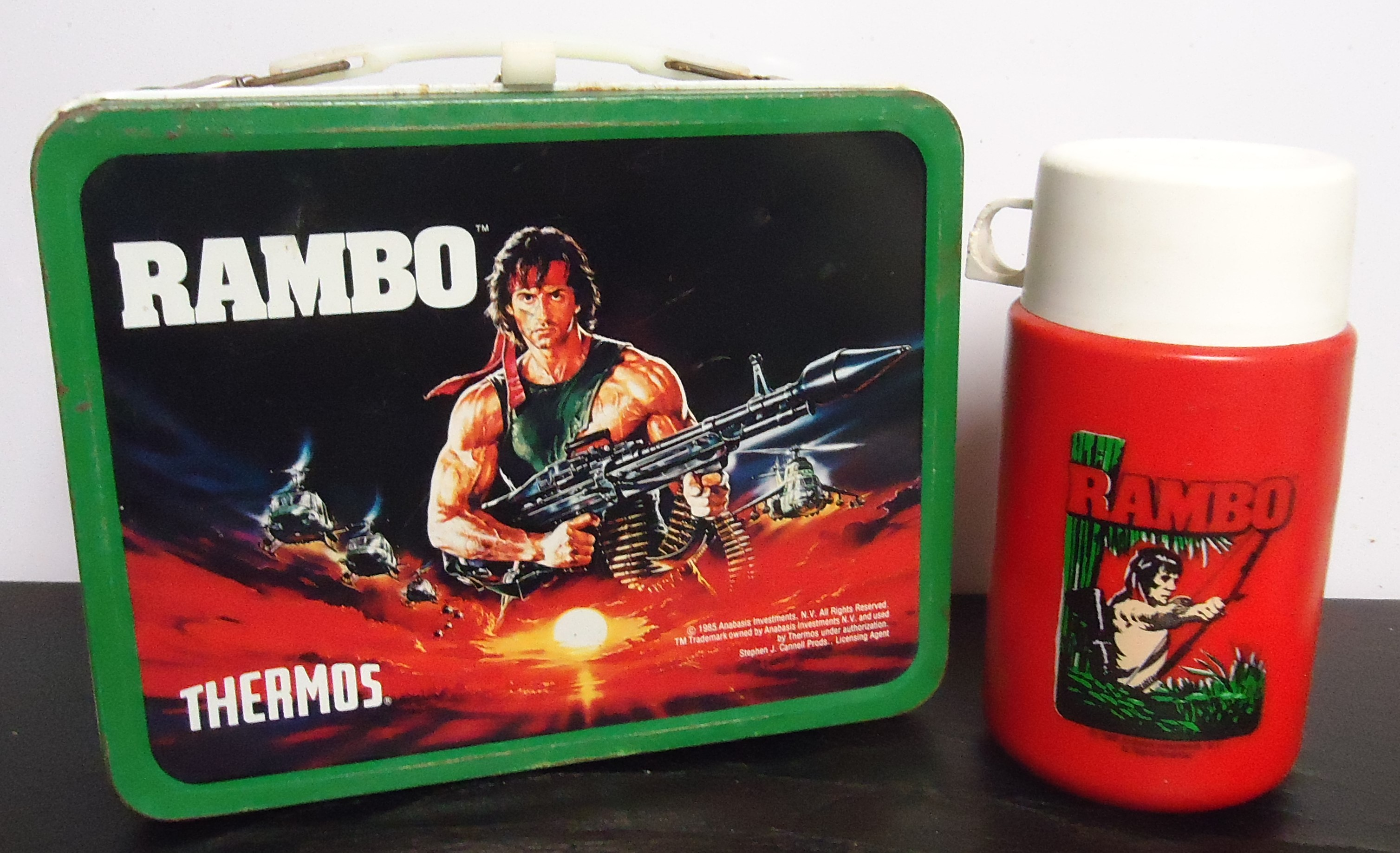 """(5) """"Rambo"""" Metal Lunch Box W/ Thermos $55.00"""