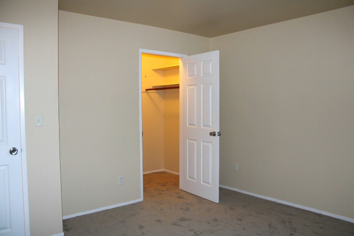 The bedroom has a walk-in closet