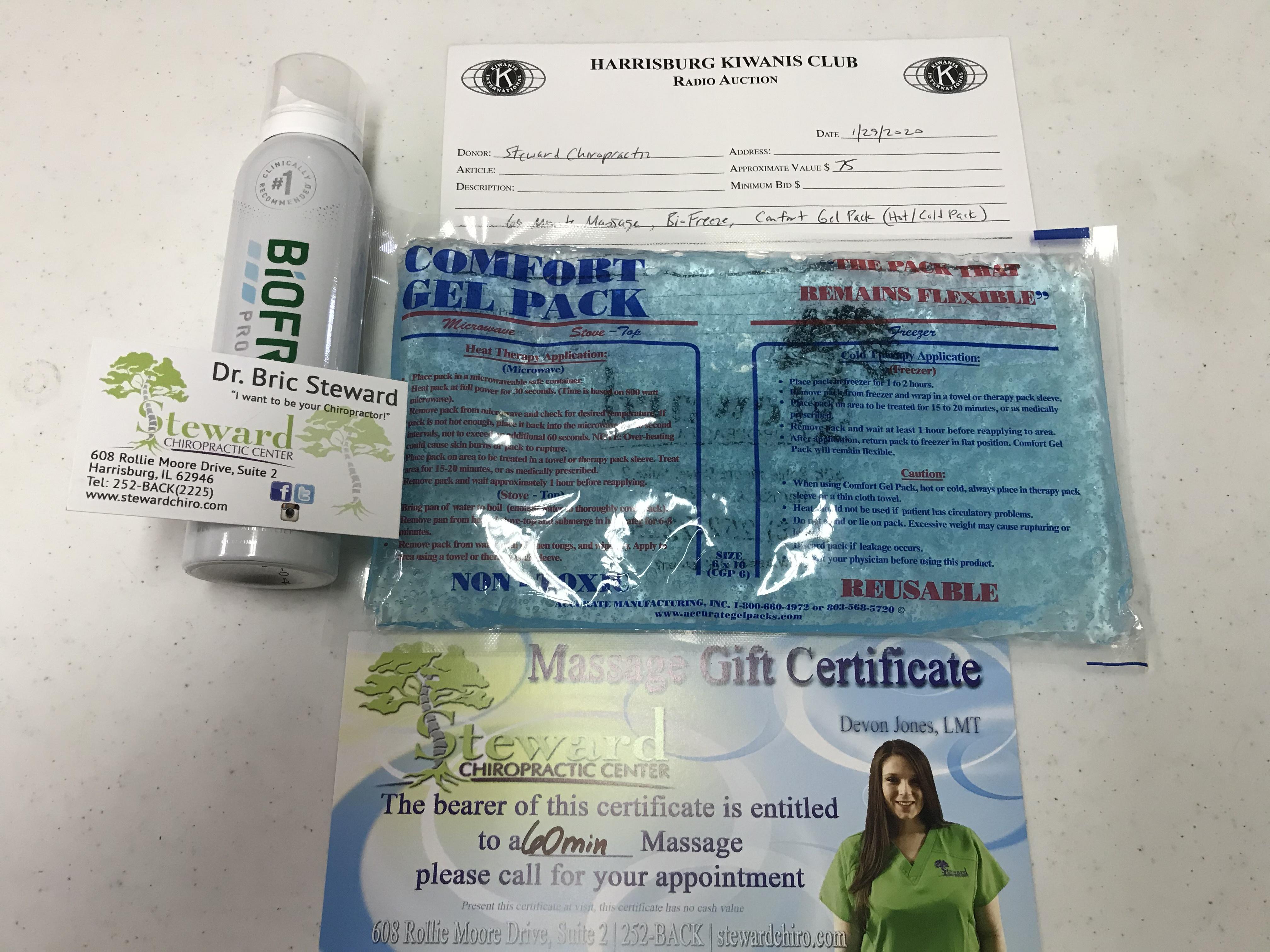 Item 422 - Steward Chiropractic 60 Minute Massage, BioFreeze, Comfort Gel Pack (Hot/Cold Pack)