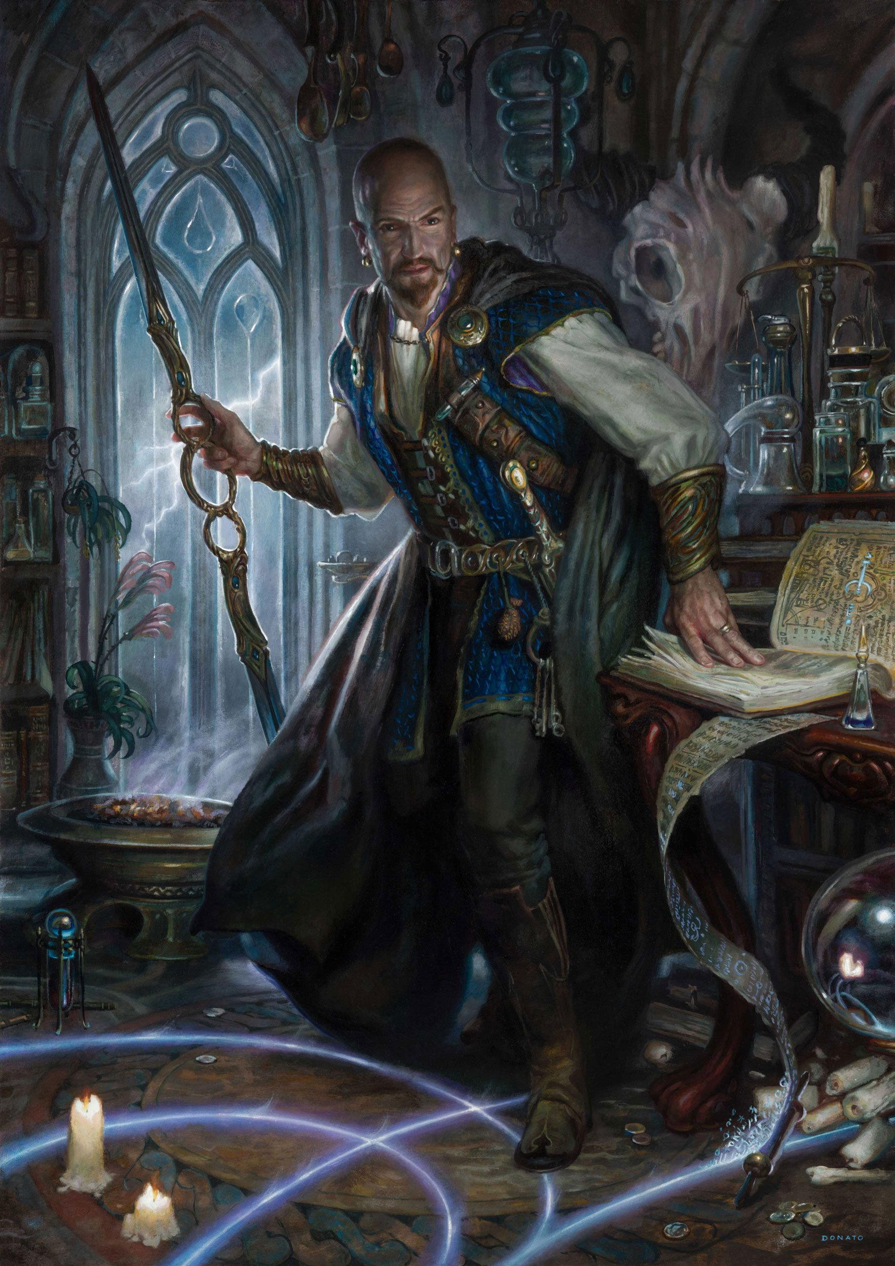 """Mordenkainen the Wizard Dungeons & Dragons Adventures in the Forgotten Realms 34"""" x 25""""  Oil on Panel 2020 private collection"""