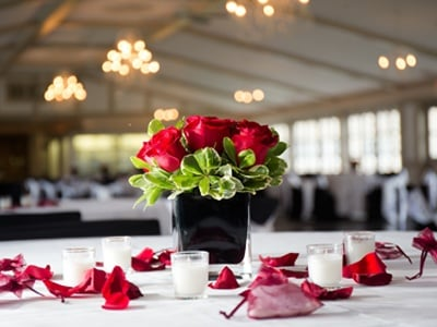 Rose Centerpiece on Table