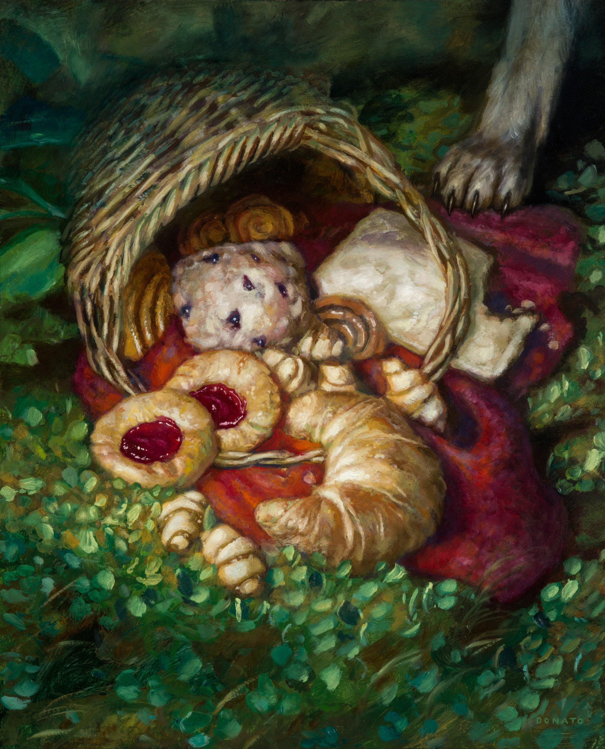 "Food Token Little Red Ridinghood 20"" x 16""  Oil on Panel Throne of Eldraine 2019 release"
