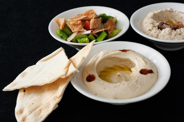 Hummus, Baba Ghanoush, and Fattoush