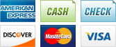 We accept American Express, Cash, Check, Discover, MasterCard and Visa.||||
