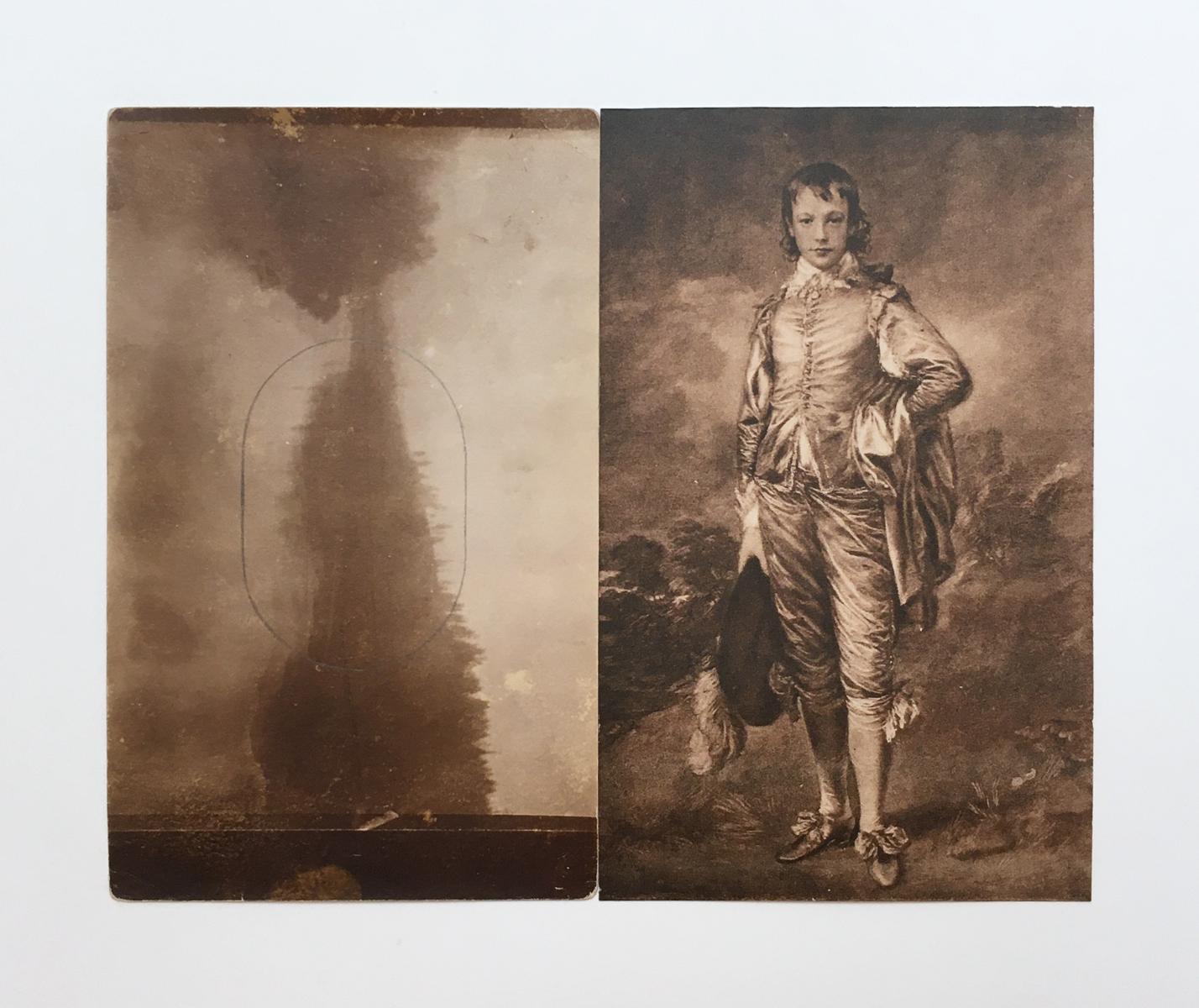Antique sepia postcards of a landscape, plus pencil outline oval, and Blue Boy.
