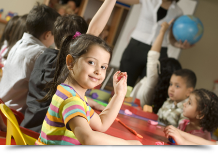Girl playing in the classroom    