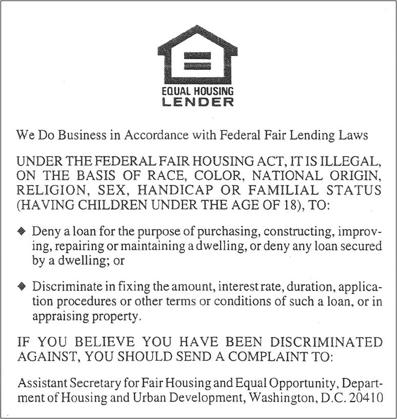 EQUAL HOUSING LENDER||||