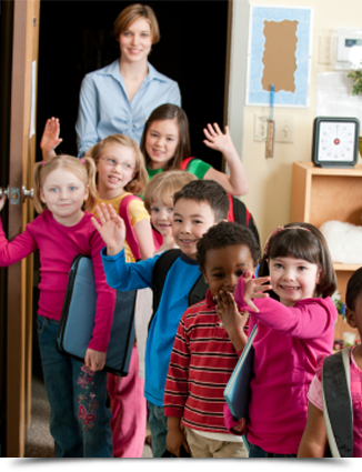 Children lined up in classroom||||