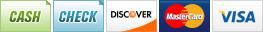 We accept Cash, Check, Discover, MasterCard and Visa.||||