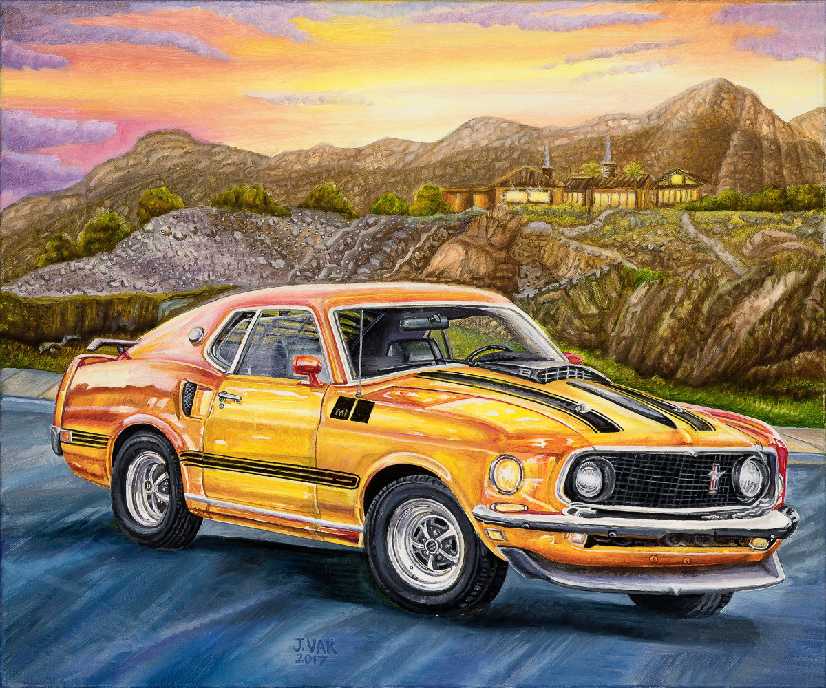 1969 Ford Mustang Mach 1     20 X 24 Original Oil            $2200            2017