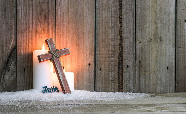 White Candles, Wood Cross and The Word Faith