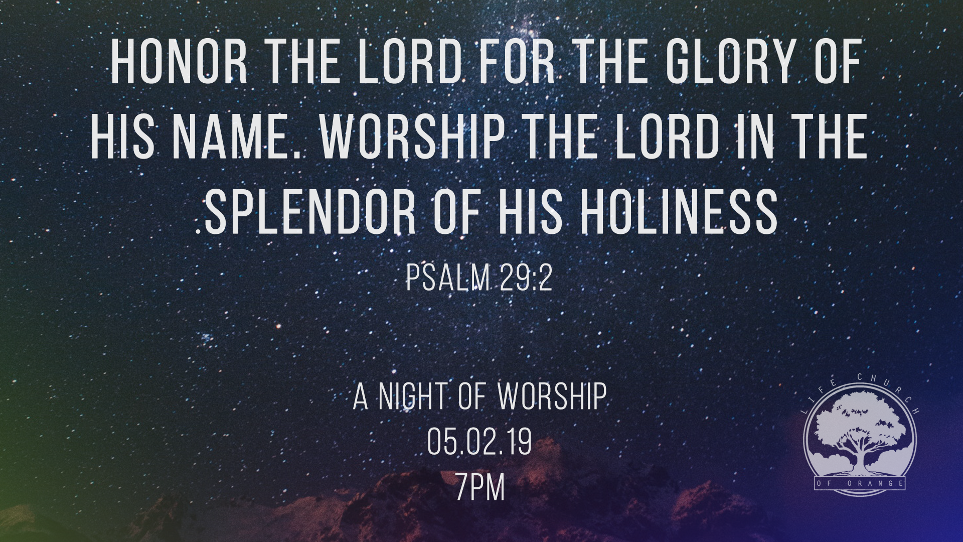 We invite you to join us for a night of worship, Thursday May 2 at 7 PM.