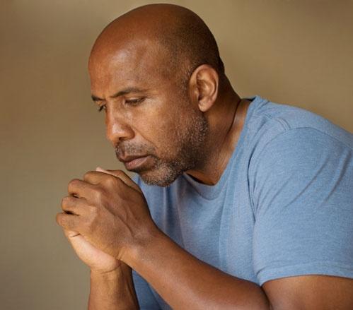 Depressed African American Man