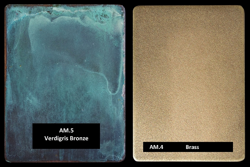 Architectural luxury finishes. Verdigris and brass.