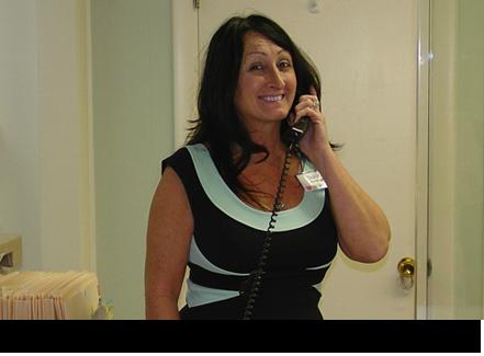 Debbie on the phone    