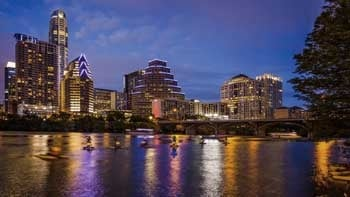 Austin, Texas Downtown Skyline At Night