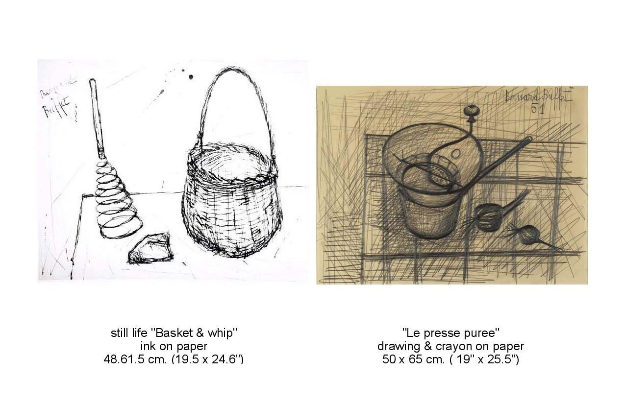 "First still rrawing of  a ""Basket and Whip"" and drawing of La presse puree"