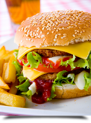 Burger with french fries||||