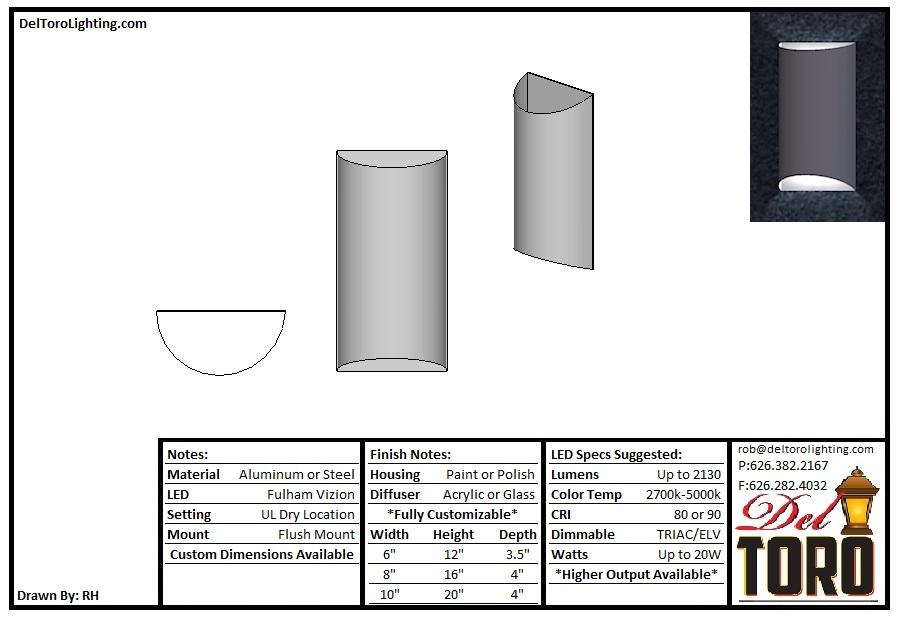 502W-Metal Half Cylinder Sconce