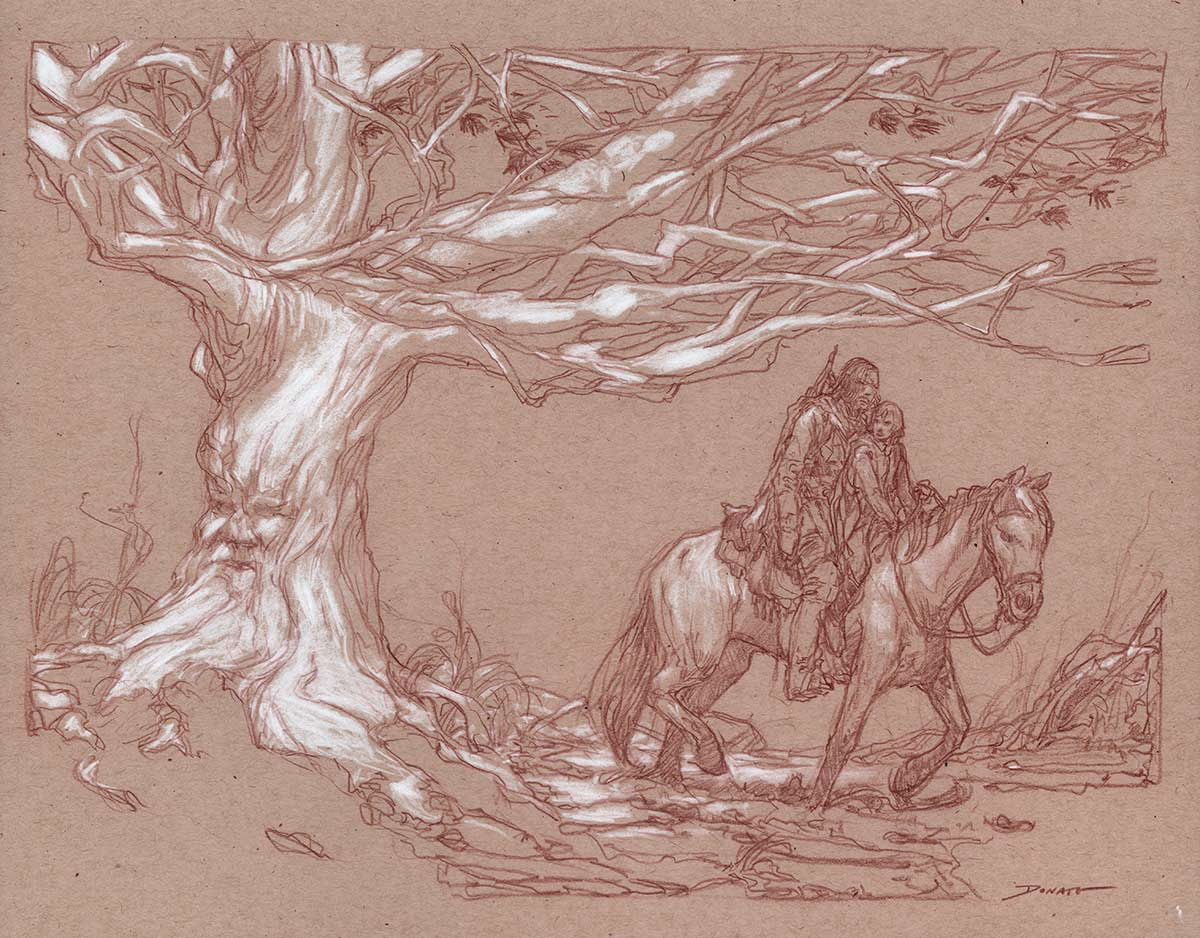 "Arya Stark and The Hound 14"" x 11""  Watercolor and chalk on toned paper collection of Mark Fidler"
