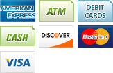 We accept American Express, ATM, Debit Cards, Cash, Discover, MasterCard and Visa.||||