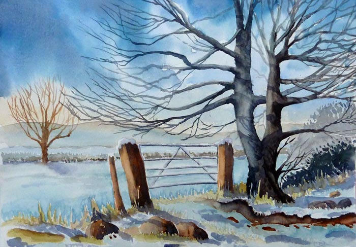 Trees in Snow Watercolour