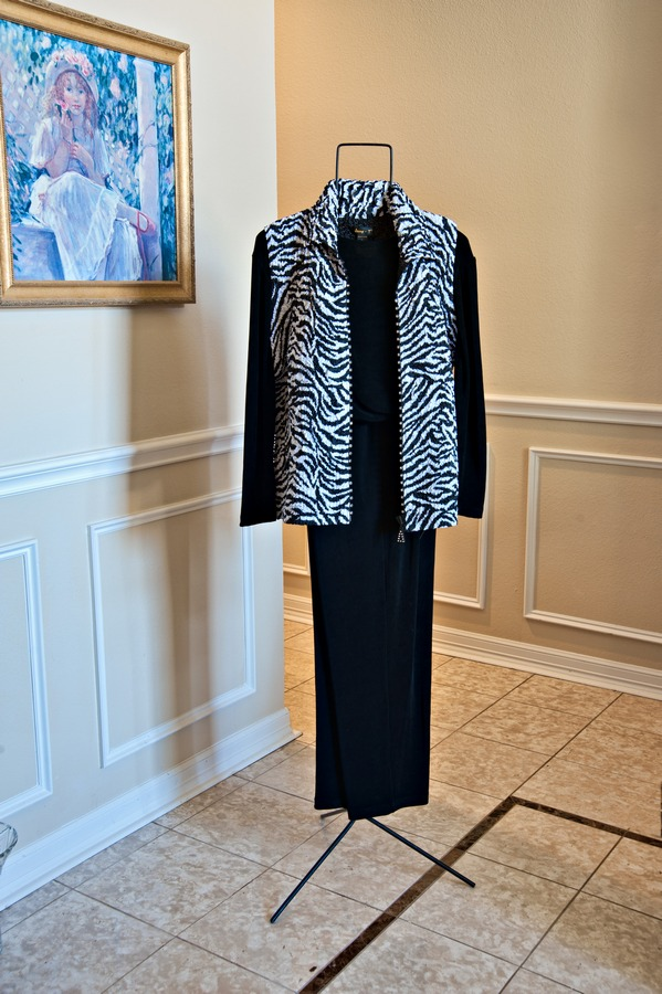 Zebra Vest, Black Top and Pants||||