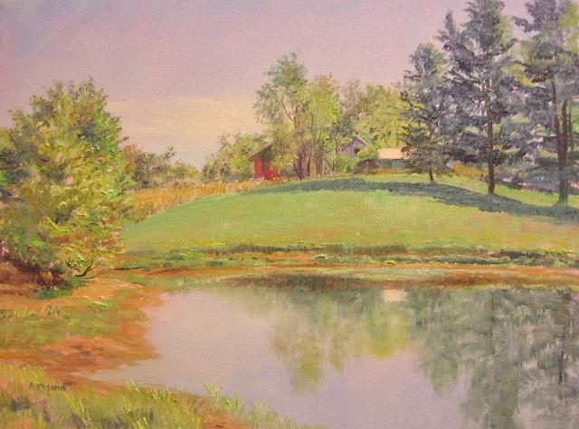 31. Howard  County Farm  Pond,  W. Friendship,  8x10 oil on canvas