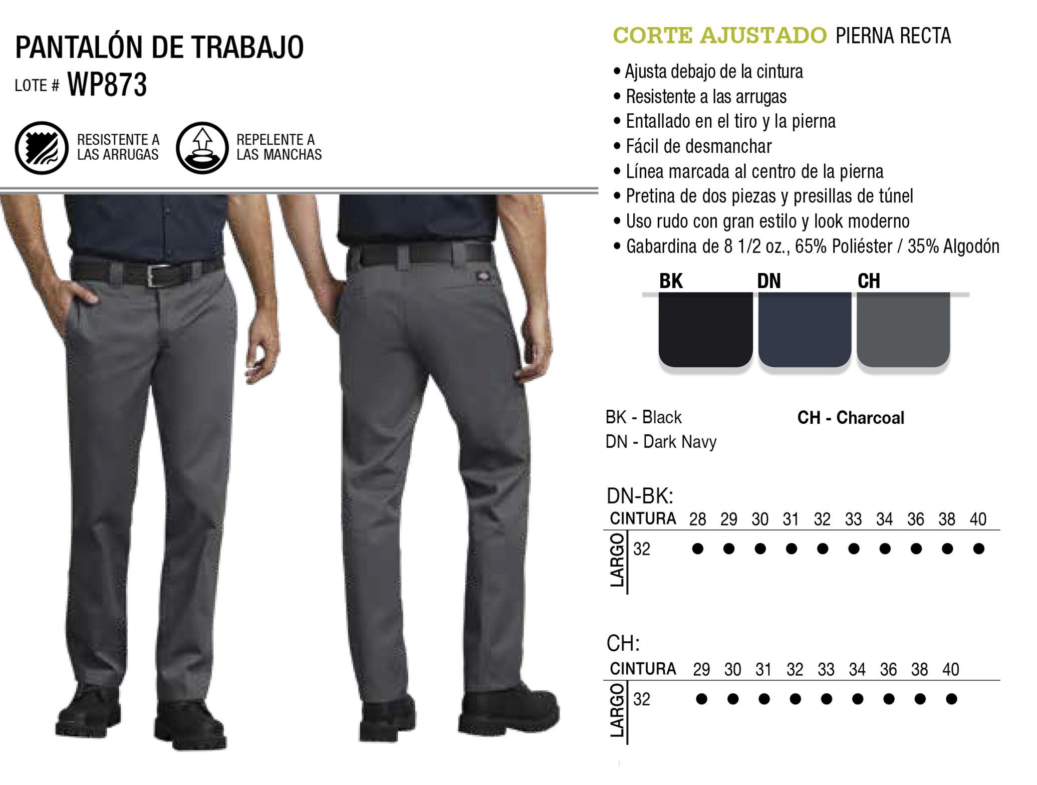 Pantalón de Trabajo. Corte Ajustado. WP873.