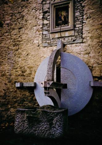 "Fountain, ""The Crossroad of Cultures"" , serena stone, H.330 - Fanano- (Modena)- Italy"