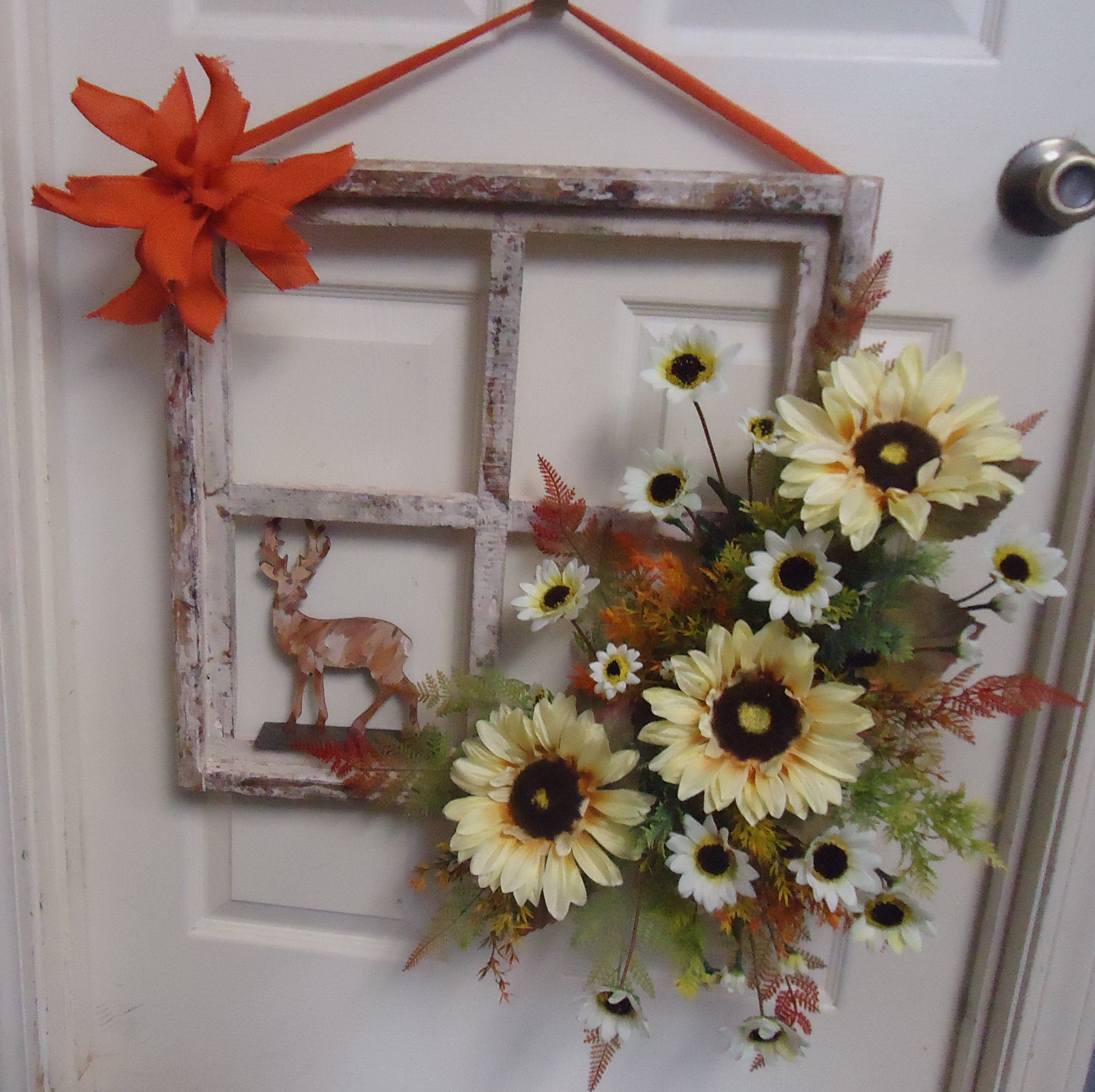 "(21) ""Window Pane"" Decor W/Deer & Silk Sunflowers $70.00"