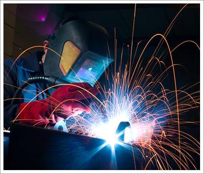 Welder creating sparks||||
