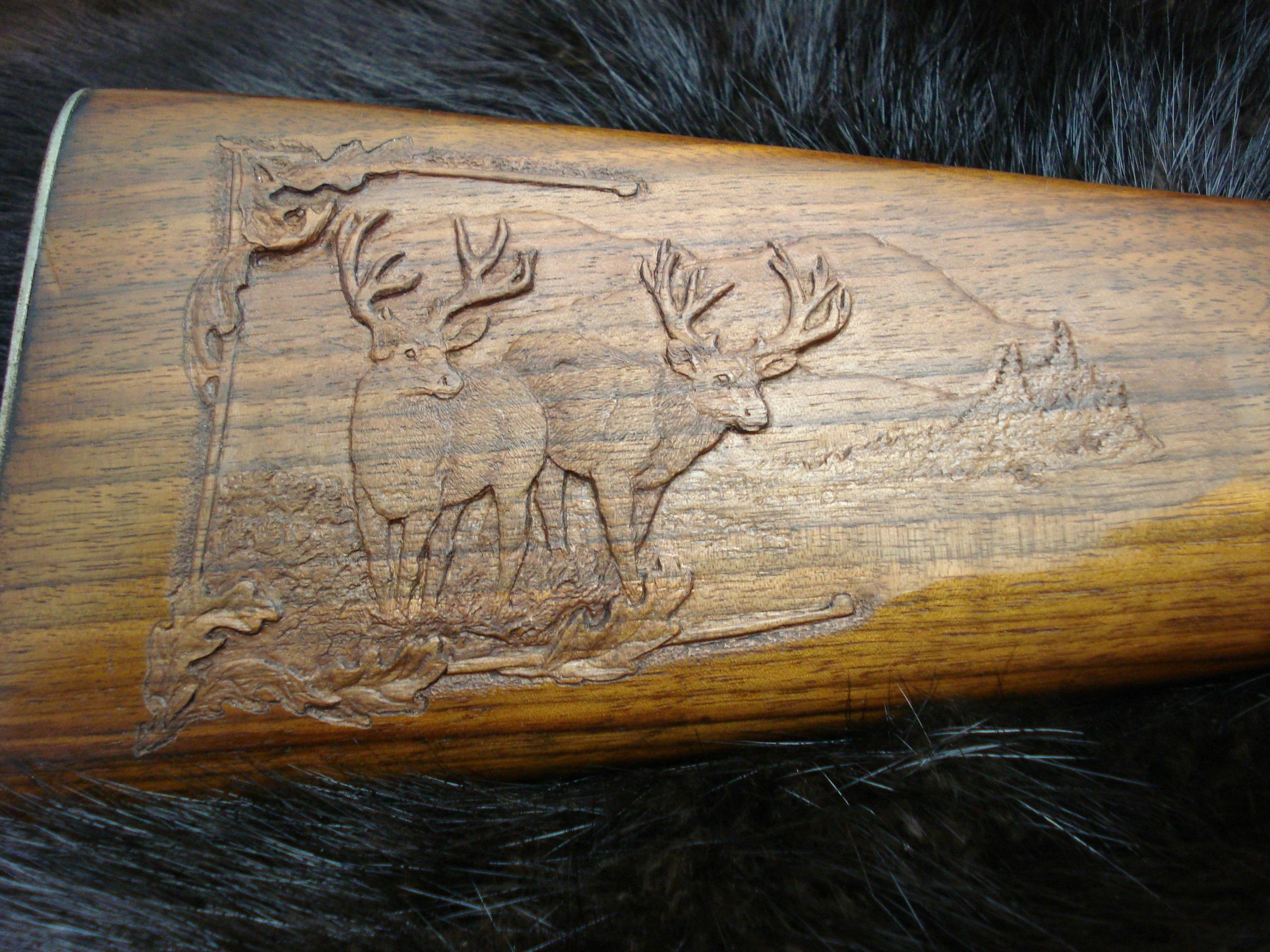Twin Mule Deer scene on Black Walnut Stock