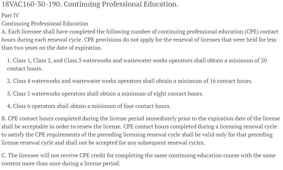Water and Wastewater CPE Hours